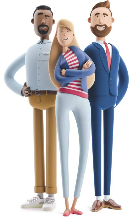3d illustration. Group of happy business people standing on a wh
